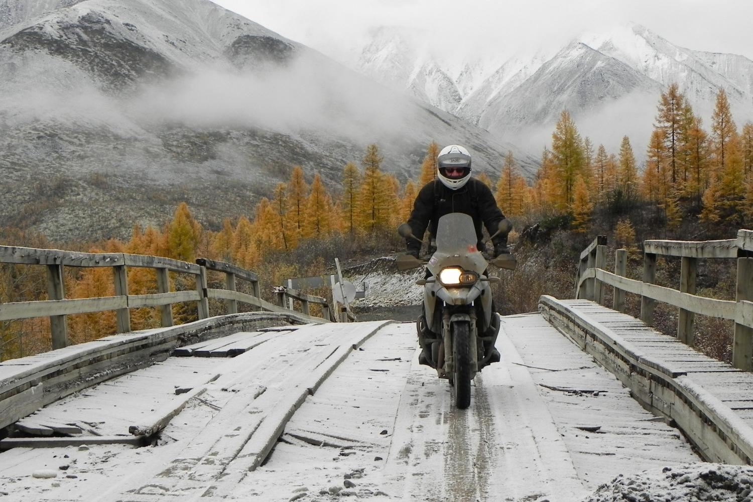 Bridge Crossing on the Road of Bones, Siberia