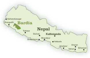 Map of Nepal with Bardia National Park highlighted