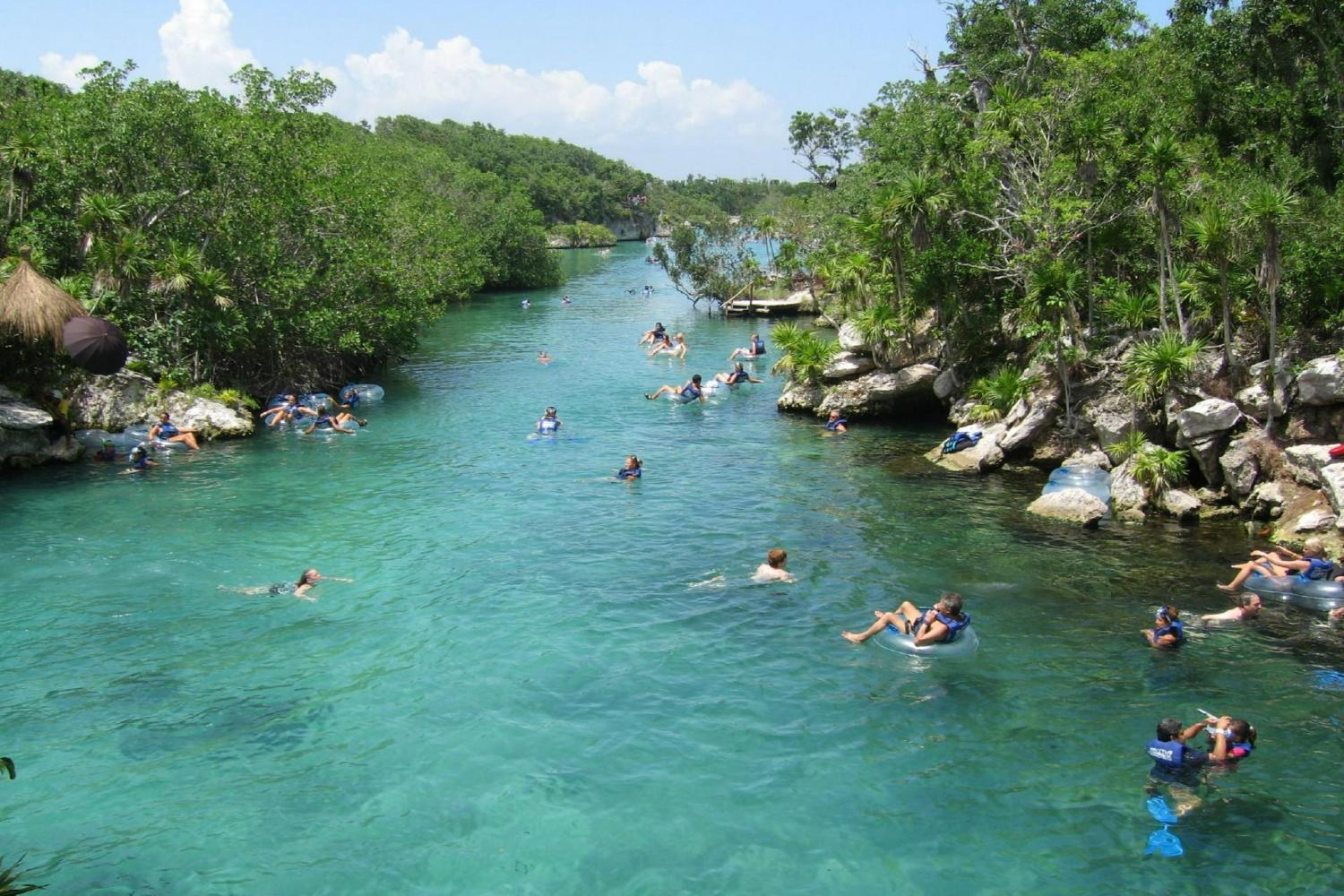 Enjoy the Xel-Ha waterpark under the big blue Cancun sky