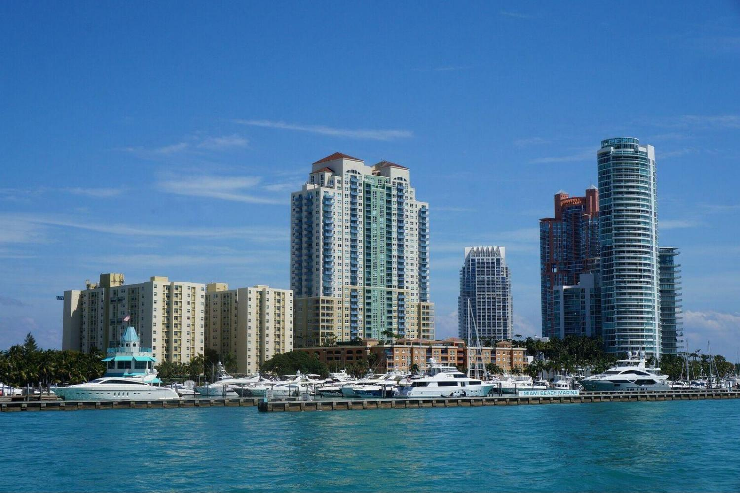 Downtown Miami Skyline view from the Island Queen Boat Cruise