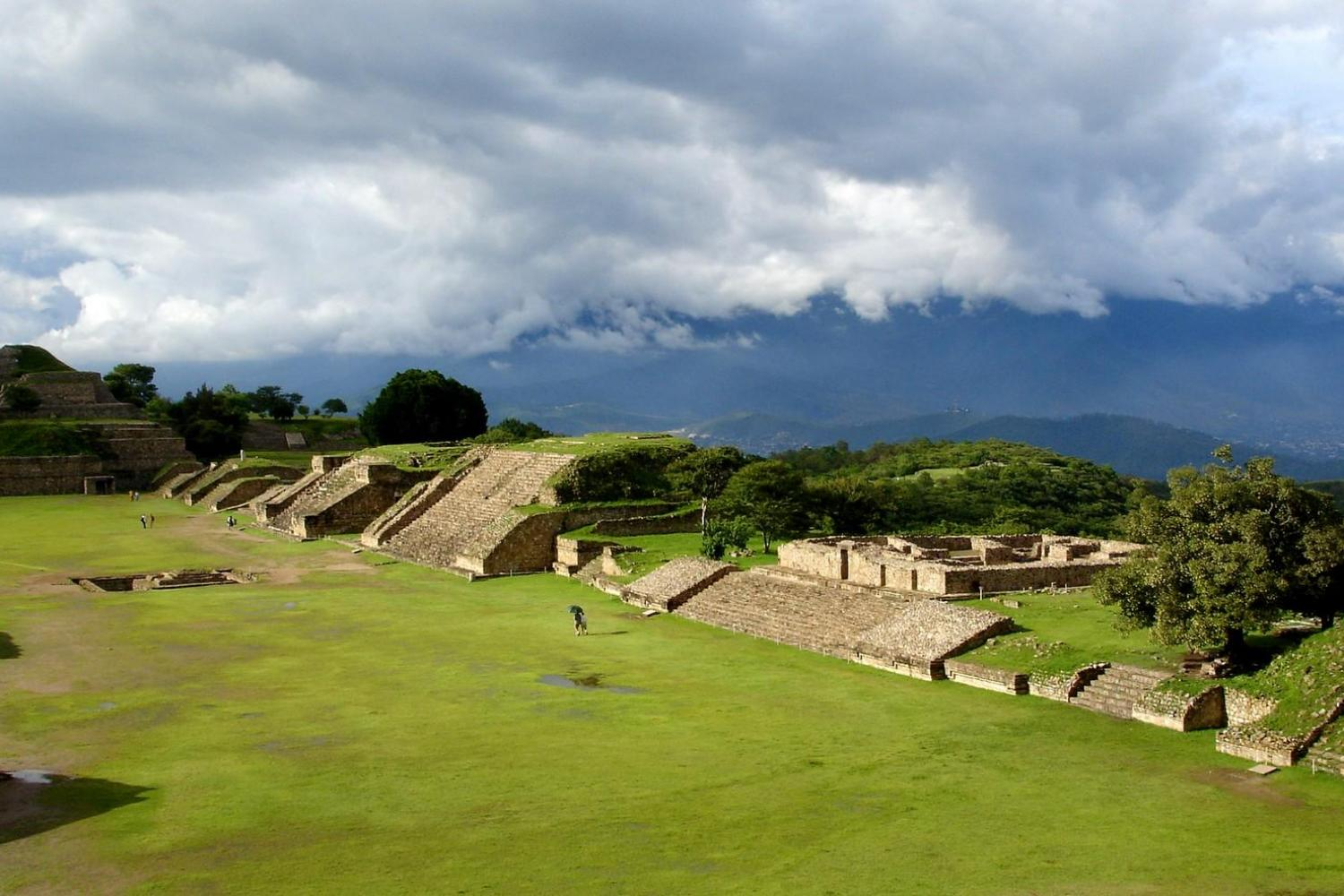 Visit Monte Alban ruins, standing tall above the surrounding Oaxaca Valley