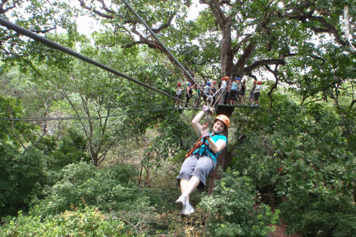 Fly high above the jungle floor on this canopy adventure