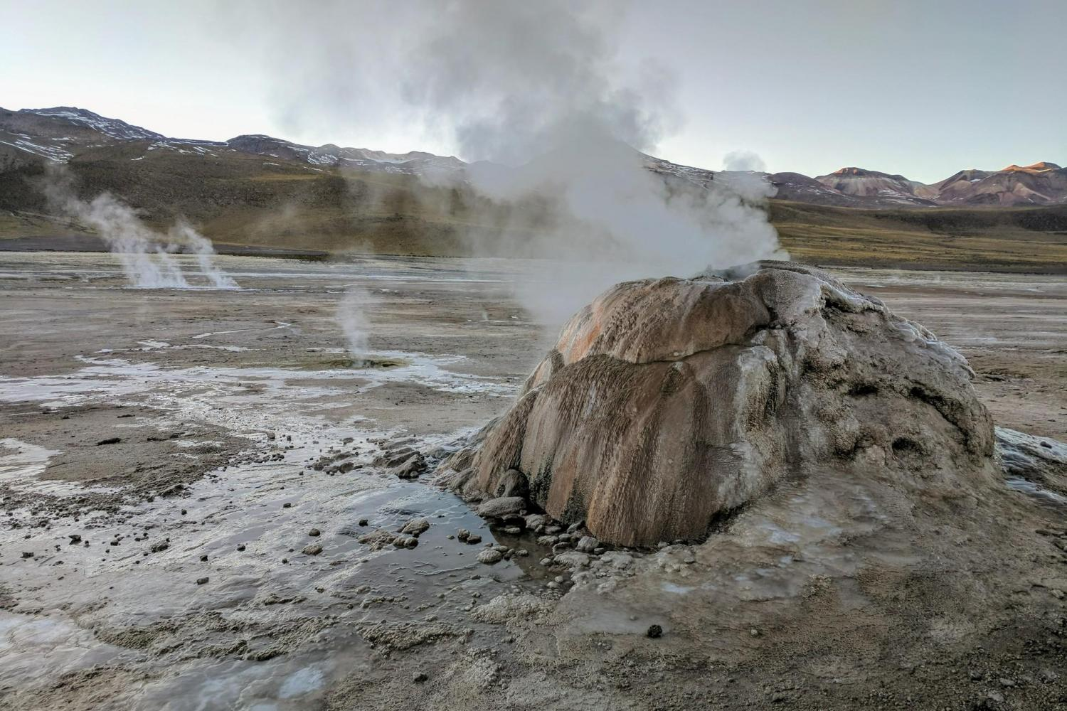 Journey high into the Chilean Andes to the famous El Tatio Geyser Field