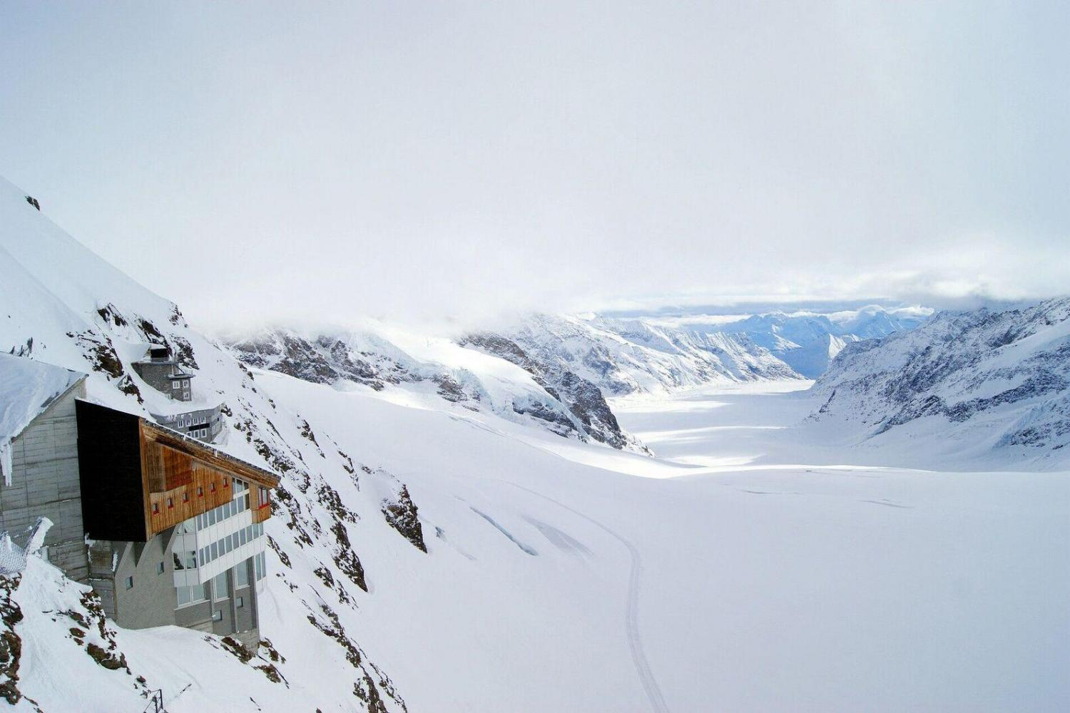 Take in the magnificent mountain views at Jungfraujoch, the highest railway station in Europe