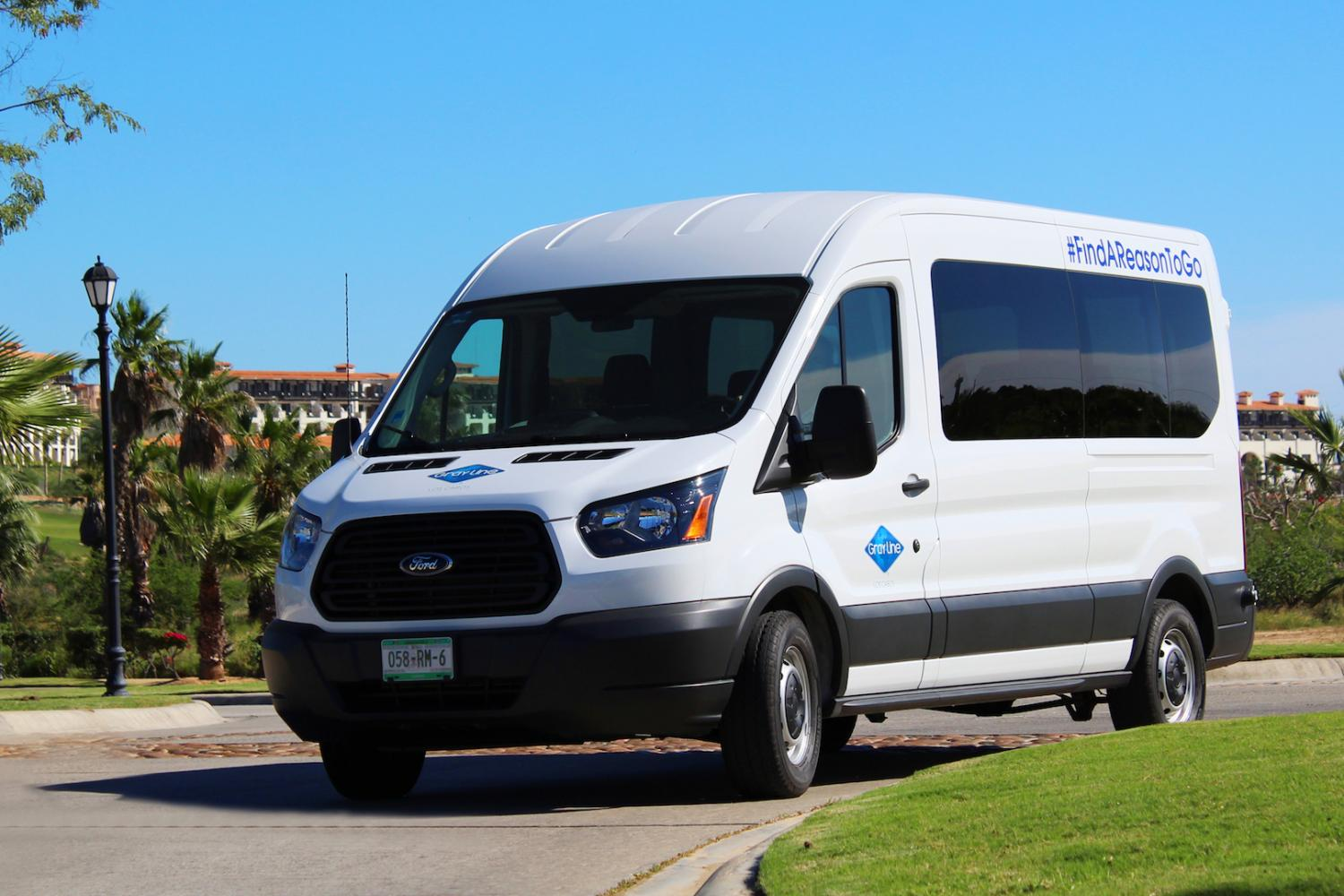 State-of-the-art, air conditioned van for shared airport/hotel transfers in Los Cabos