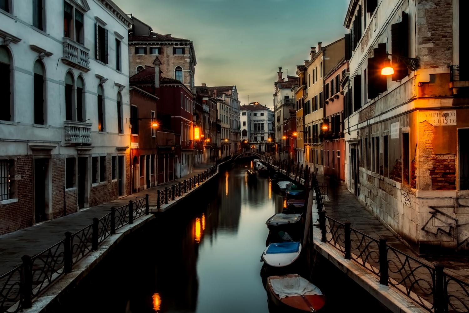 Traditional Dinner in a Venetian Restaurant with Canal View