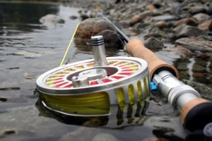 Fly rod and reel in the Fraser River, Canada