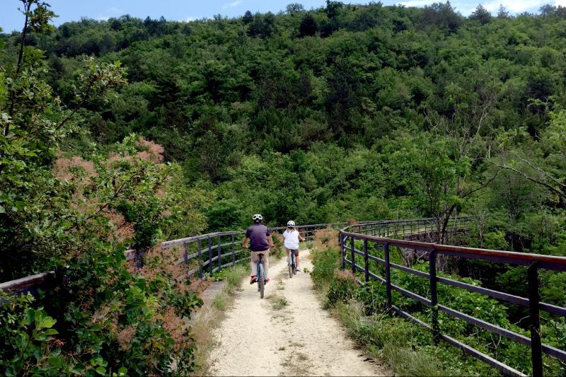 Passing over bridges along the Parenzana trail