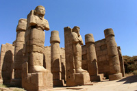 Statues in the temple of Karnak in Luxor, Egypt