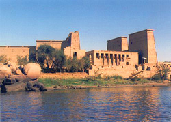 Temple at Komombo from the Nile, Egypt