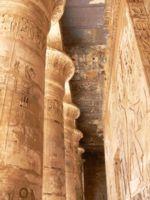 Carven pillars at the Temple of Karnak, Egypt