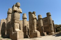 Statues at the temple of Karnak in Luxor, Egypt