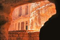 Great view of the Treasury in Petra, Jordan