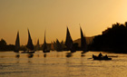 Feluccas on the Nile at sunset, Aswan, Egypt