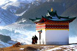 Tibetan temple in the snow, Tibet