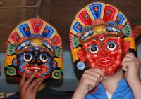 Brightly coloured masks, Nepal