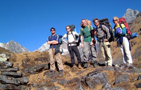 Trekkers on the Langtang trek, Nepal