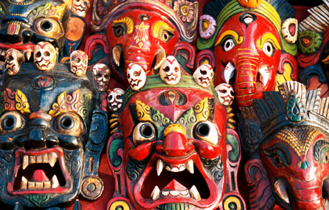 Colourful, traditional wooden masks, Nepal