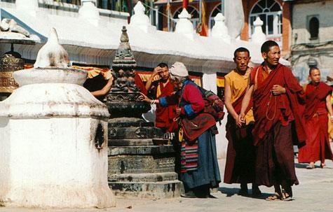 Buddhist monks at Boudhanath Stupa, Nepal