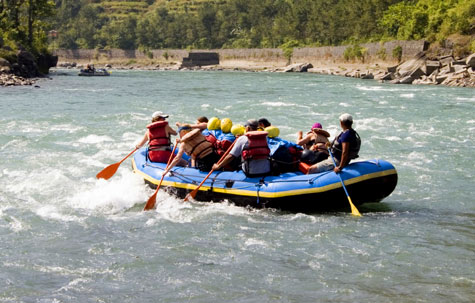 Whitewater rafting on the Bhote Kosi River, Nepal