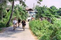 Bike riding through rural Bangkok, Thailand