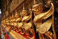 Statues on the Temple of the Emerald Buddha, Grand Palace, Bangkok, Thailand
