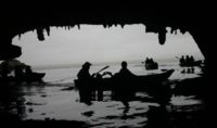 Silhouette of Sea Kayaks in caves, Krabi, Thailand
