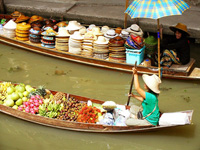 Fruit seller at the floating market in Bangkok, Thailand