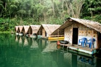 Raft houses in Khao Sok National Park, Thailand