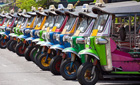 Row of Thai tuk-tuks, Bangkok, Thailand