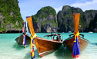 Long Boats anchored on Phi Phi Le Island, Phuket, Thailand