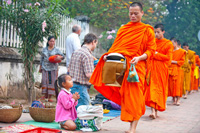Monks in procession, Luang Prabang, Laos