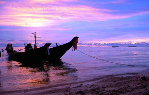 Longtail boat at sunset on Ko Samui, Thailand