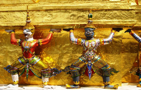 Gold statues at the Grand Palace, Bangkok, Thailand