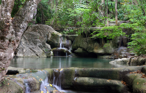 Stunning waterfall Erawan National Park, Thailand