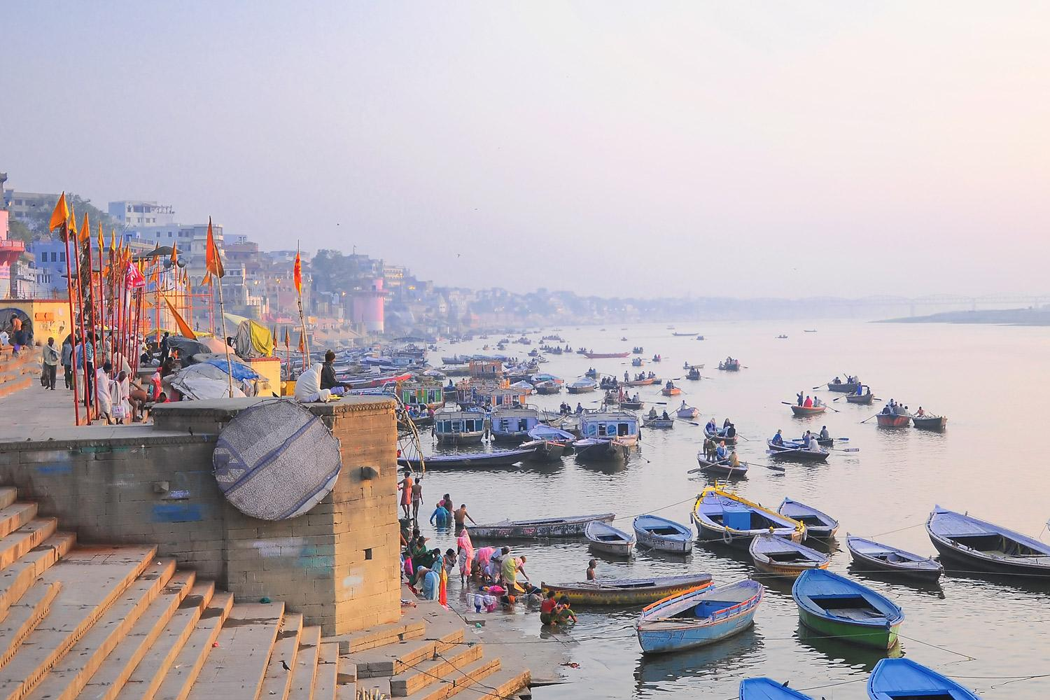 The Ganges at dawn in Varanasi