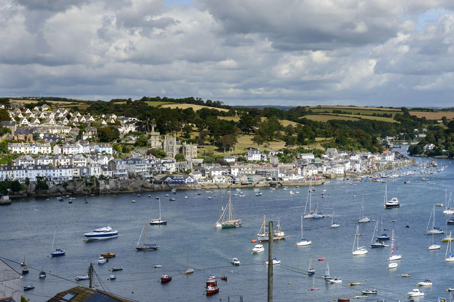Views over the river estuary to the historic town of Fowey
