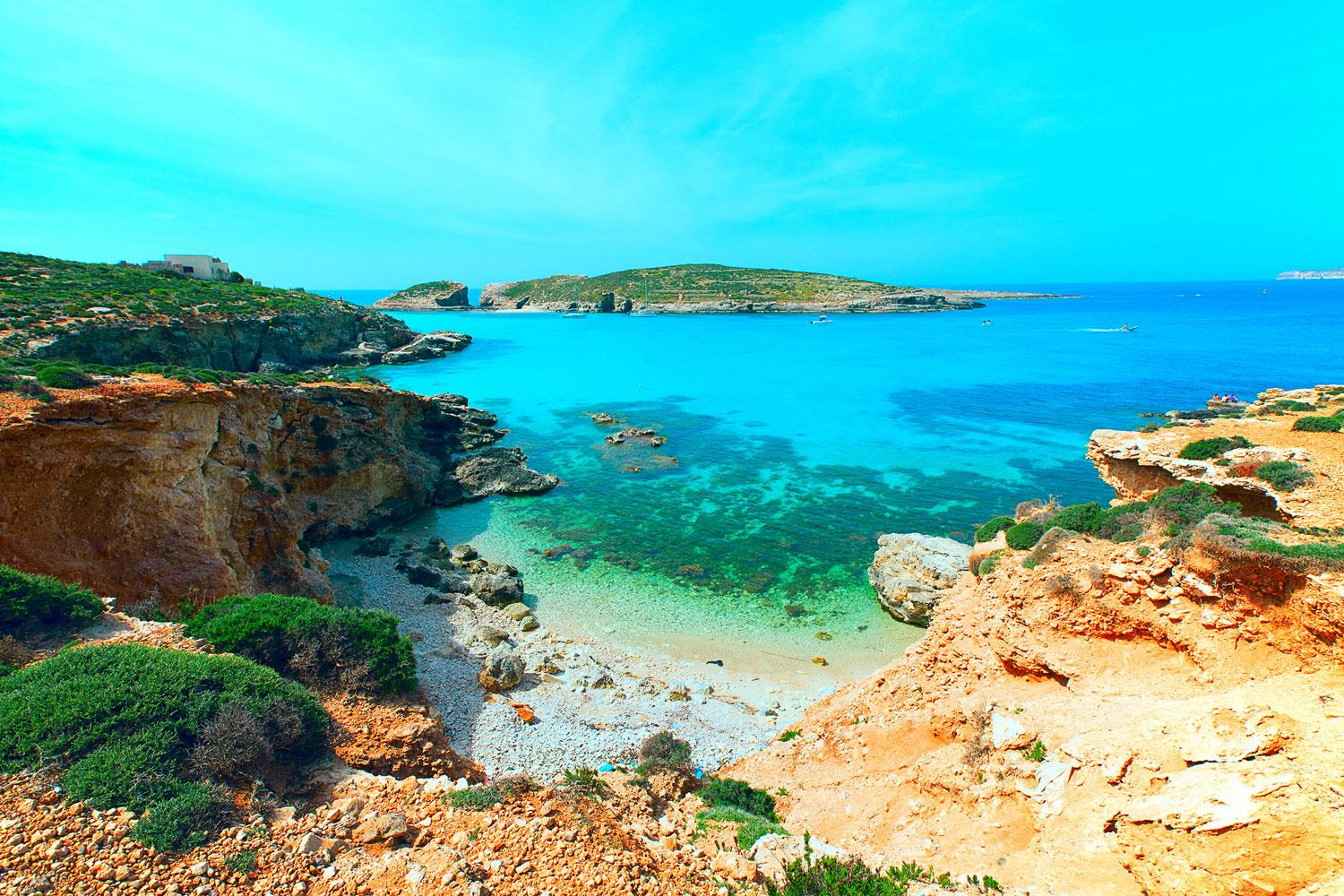 Turquoise seas off the Island of Comino