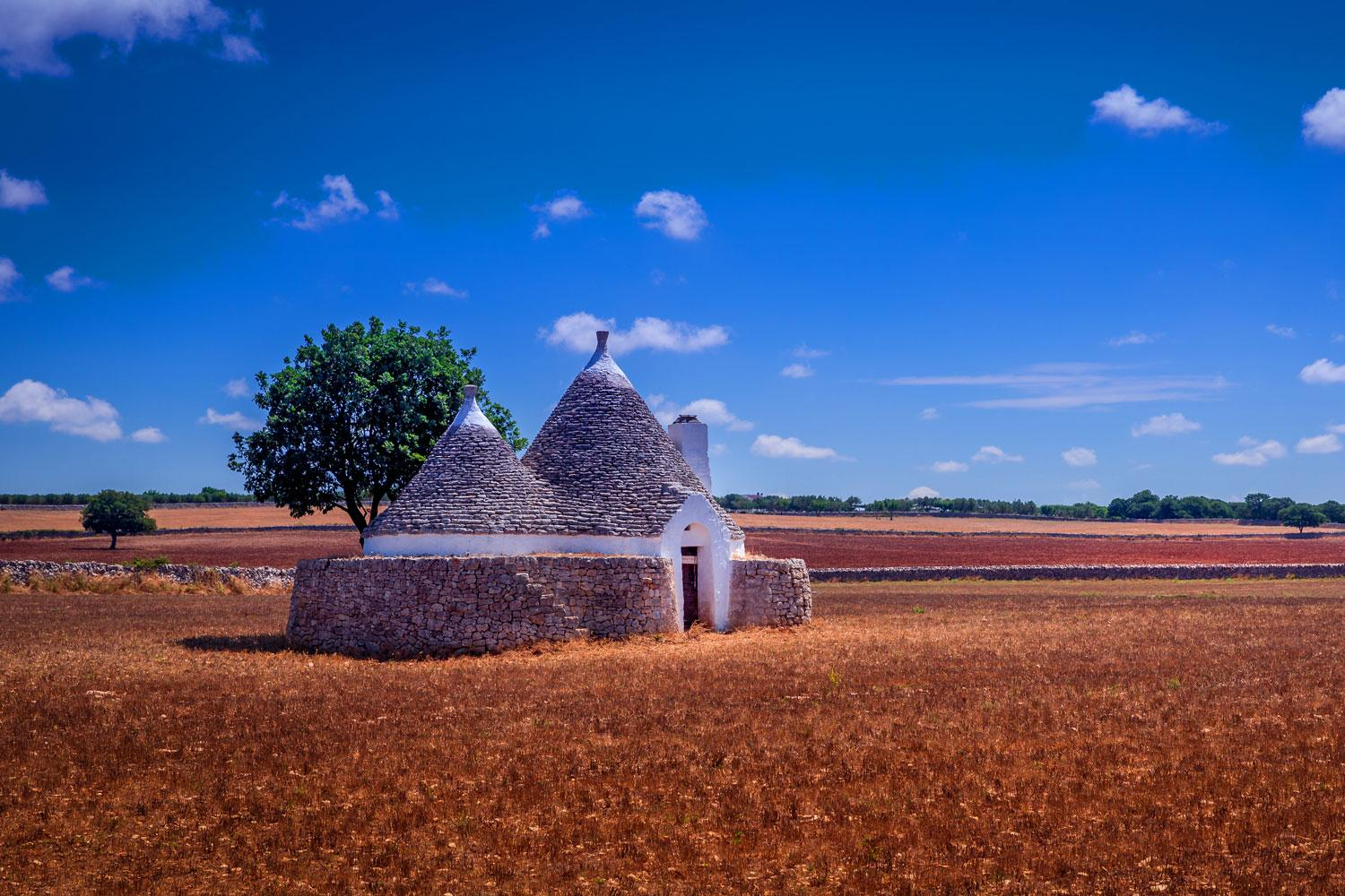 Tranquil Puglian landscapes with Trulli house