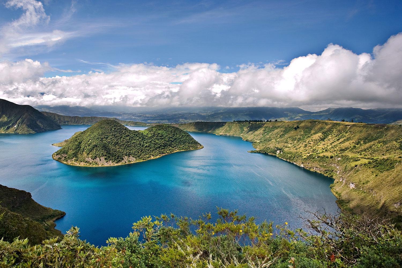 Follow the scenic rim trail around Cotacachi's brilliant blue Cuicocha Lake