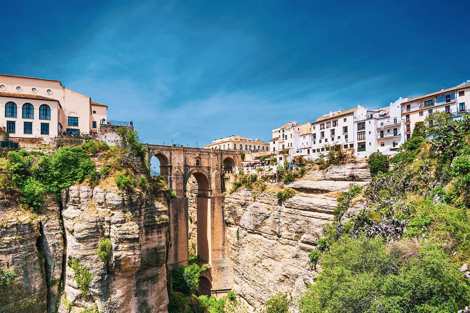 The iconic Puente Nuevo - a 390ft Bridge that divides the charming town of Ronda