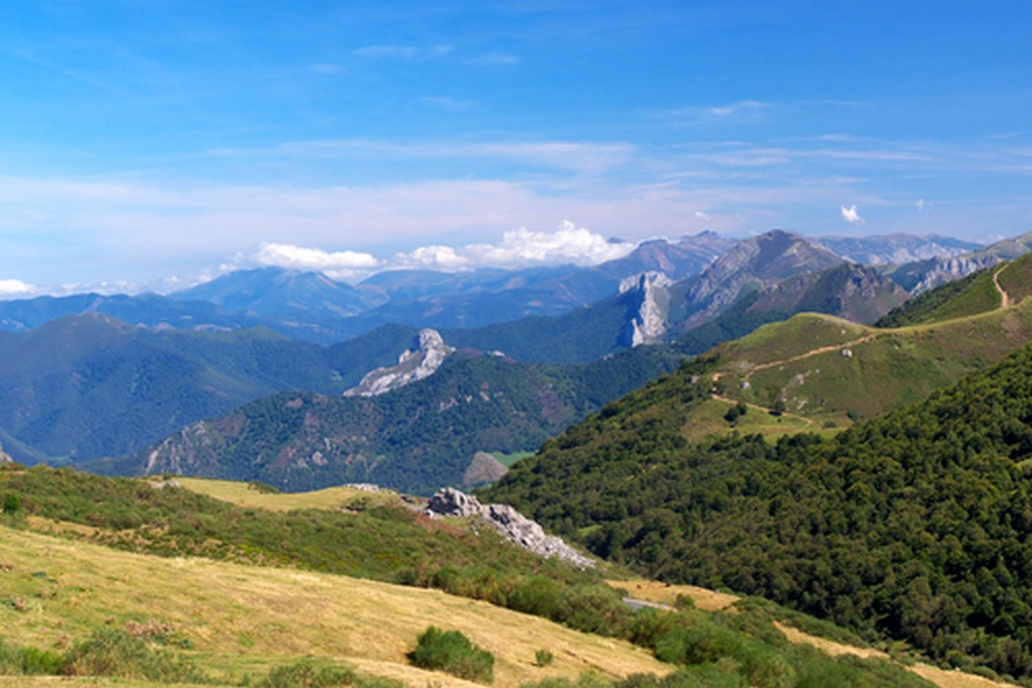 The lush green hills of the Cantabrian mountains