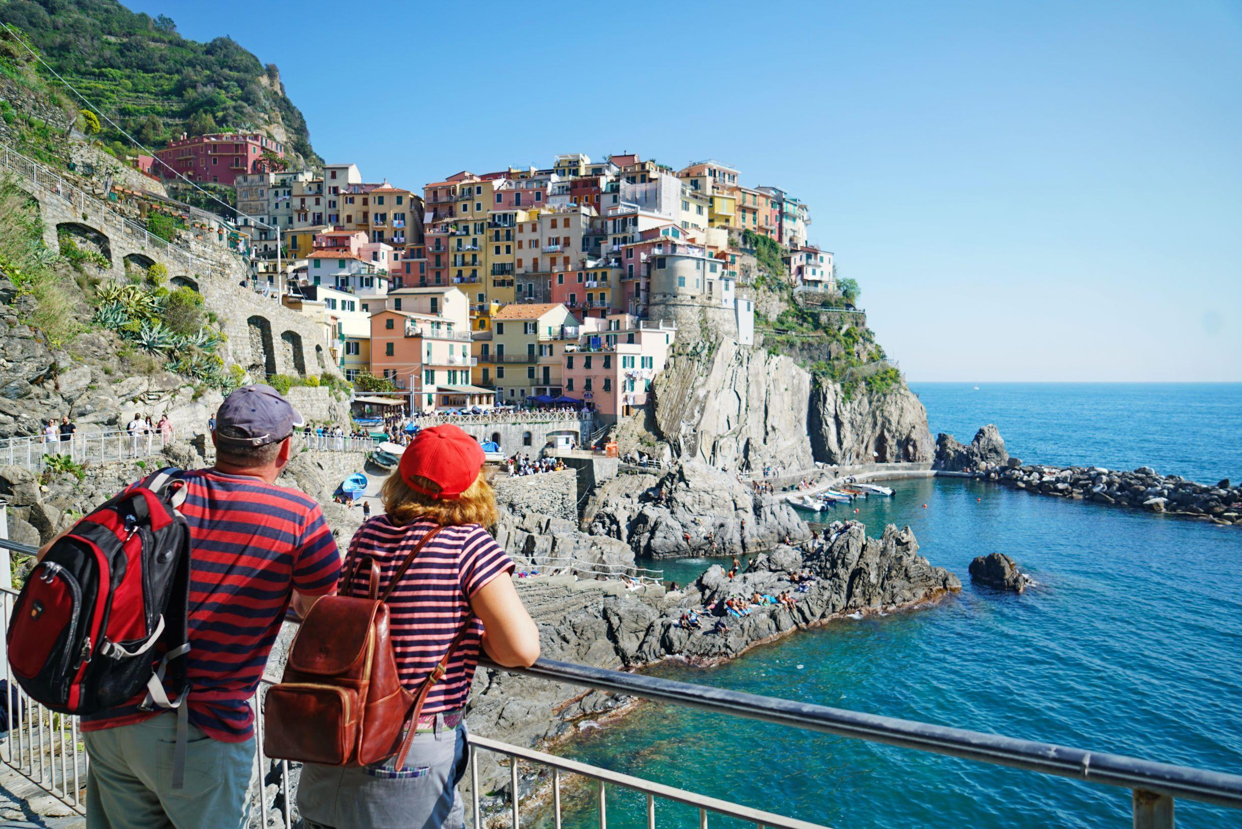 Incredible scenic walk along the easy Lovers Walk trail between villages on the Cinque Terre
