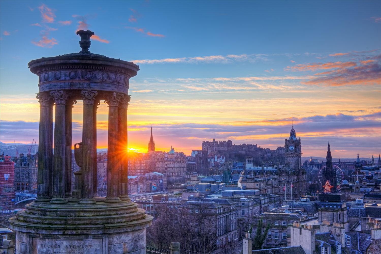 view over Edinburgh at sunrise