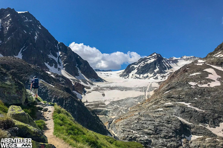 E5 Oberstdorf-Meran: Blick auf den Pitztaler Gletscher